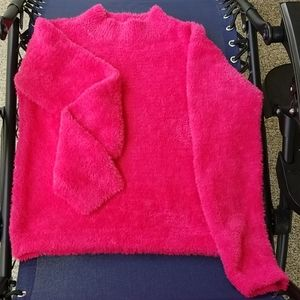 H&M Hot Pink Mock Turtleneck Crop Sweater, 12-14